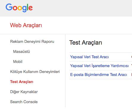 Google Web Yöneticileri, Search Console ve Google Test Araçları